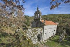 Ruined monastery of Pitoes das Junias, Municipality of Montalegre. Peneda Gerês National Park. Portugal. View from tha Ruined monastery of Pitoes das Junias royalty free stock photos