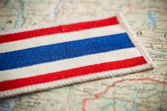 Thailand flag on map. View of the Thailand flag on map royalty free stock image
