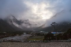 View from Thame village near Namche Bazar, Khumbu valley Stock Images