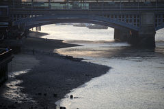 View of the Thames at dusk. Low tide Royalty Free Stock Photo