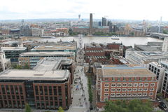 View on the Thames, Millenium Bridge, Tate Modern. View on the Thames,Tate Modern, Millenium Bridge and the city from the Saint Paul Cathedral in London Royalty Free Stock Photos