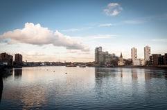 View of the Thames near Imperial Wharf. On a sunny day. Cityscape and riverfront, London UK stock photo