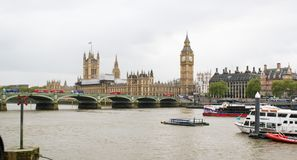 A view of Thames river, Big Ben and Palace of Westminster Stock Photography