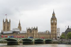 A view of Thames river, Big Ben and Palace of Westminster Royalty Free Stock Images