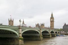 A view of Thames river, Big Ben and Palace of Westminster Stock Image