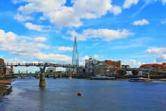 View of Thames River and bridges London Great Britain. View of Thames River from the north bank to London Borough of Southwark modern riverside building on nice stock image
