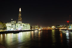 View of the Thames with the Shard and the HMS Belfast Royalty Free Stock Images