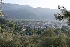 View of the Thasos Town. And surroundings from the nearest hill Stock Images