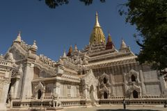 View of Thatbyinnyu Temple, Bagan. Panoramic View of the archaeological park of the ancient temples and pagodas of Bagan. Myanmar stock image