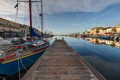 Thau basin - Meze - Herault - France. View of the Thau basin - Meze - Herault - Occitania - France stock images