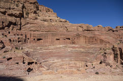 View of Theatre in Petra in the morning Stock Photography