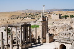 Theatre, Dougga Roman City, Tunisia. Dougga Theatre, which was built in 168 or 169 CE, is one of the best preserved examples in Roman Africa. It could seat 3500 Royalty Free Stock Photos