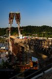 New Ironton-Russell Bridge Under Construction - Ohio River - Ohio & Kentucky. A view of the then-under construction Ironton-Russell cable-stayed suspension royalty free stock photo