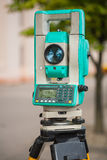 View on theodolite close up Royalty Free Stock Photo