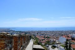 View of Thessaloniki city from Ano Poli district and Trigoniou Tower. Castles at Thessaloniki, Greece. View of the city stock photo