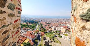 View of thessaloniki Selanik. City view of thessaloniki between walls royalty free stock image