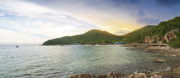 View of Thien Beach white sandy beach at Koh Lan, Pattaya Thailand.One of the most beautiful island in Thailand. Photo of Thien Beach white sandy beach at Koh Royalty Free Stock Photography