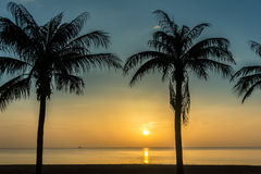 View and the things of the morning Thai Sea Songkhla Province. The Rising Sun. The Gulf of Thailand Royalty Free Stock Images