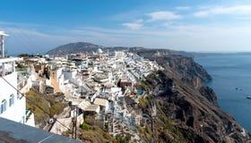 Thira village - Aegean sea - Santorini island - Greece. View of Thira village - Aegean sea - Santorini island - Greece stock photo