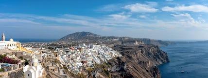 Thira village - Aegean sea - Santorini island - Greece. View of Thira village - Aegean sea - Santorini island - Greece royalty free stock photos