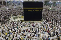 View from third floor of Haram Mosque where  Muslim pilgrims get ready for prayer in Mecca, Saudi Arabia. MECCA - CIRCA 2014 : View from third floor of Haram stock photo