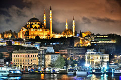 View on the Third Hill of Istanbul with Suleymaniye Mosque.  Royalty Free Stock Images
