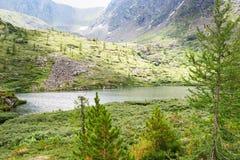 View on Third Lake of Karakol lakes in Altai Republic. Russia. View on Third Lake of Karakol lakes in Iolgo Range. Altai Republic, Siberia. Russia Stock Images
