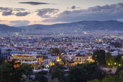 Athens. View of Thissio quarters in Athens from Areopagus hill at sunset, Greece Royalty Free Stock Image