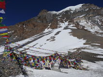 View of Thorong La pass. Annapurna trek, Himalaya, Nepal. Stock Images