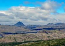 View of Thorsmork from the top of Valahnukur, between the glaciers Tindafjallajokull, Myrdalsjokull and Eyjafjallajokull, southern royalty free stock photo