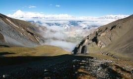 View from thorung la pass annapurna himal to dhaulagiri Stock Image