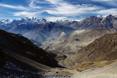 View from Thorung La Pass, Himalaya Royalty Free Stock Photo