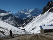 View from Thorung Phedi High Camp Royalty Free Stock Photos