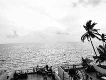 That view though. At a resort in Trivandrum, India. The view from a resort in Trivandrum, India. Black an white edit stock photography