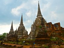 View on the three chedi in Buddhist temple Wat Phra Sri Sanphet in Ayutthaya Royalty Free Stock Photography