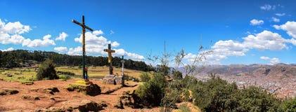 Panoramic view on three crosses in Cusco Peru royalty free stock image