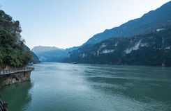 View of Three Gorges Tribe Scenic Spot along the Yangtze River; located Stock Images
