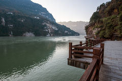 View of Three Gorges Tribe Scenic Spot along the Yangtze River; located Stock Photos