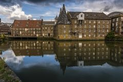 The oldest tidal mills complex in the world in Lee Valley, London. A view of the Three Mills, part of the oldest tidal mills complex in the world in Lee Valley royalty free stock photos