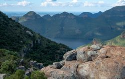 View of the Three Rondavels at the Blyde River Canyon on the Panorama Route, Mpumalanga, South Africa. View of the Three Rondavels rock formation at the Blyde royalty free stock images