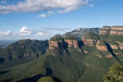 The Three Rondavels rock formation at the Blyde River Canyon on the Panorama Route, Mpumalanga, South Africa. View of the Three Rondavels rock formation at the royalty free stock image