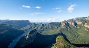 The Three Rondavels rock formation at the Blyde River Canyon on the Panorama Route, Mpumalanga, South Africa royalty free stock image