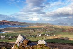 View of three sisters in Dingle Peninsula. Aerial view of the three sisters hills and Sybil head in Dingle peninsula, co Kerry, Ireland stock photos