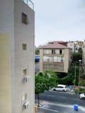 View on three-storey residential house Stock Photo