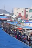 The view of thriving farmers market in Dalian Stock Photography