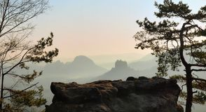 Free View Through Branches To Deep Misty Valley In Saxon Switzerland Park. Stock Photography - 39749042