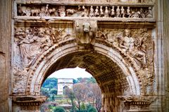 View throuh the Triumpharche at the Roman Forum royalty free stock image