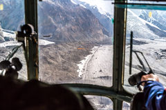 View throw Helicopter Cockpit Approaching to High Altitude Base Royalty Free Stock Image