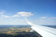 View thru an airplane window Royalty Free Stock Photography