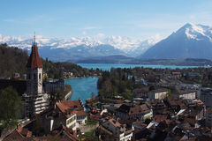 View from Thun castle. With snow mountain background Stock Photos